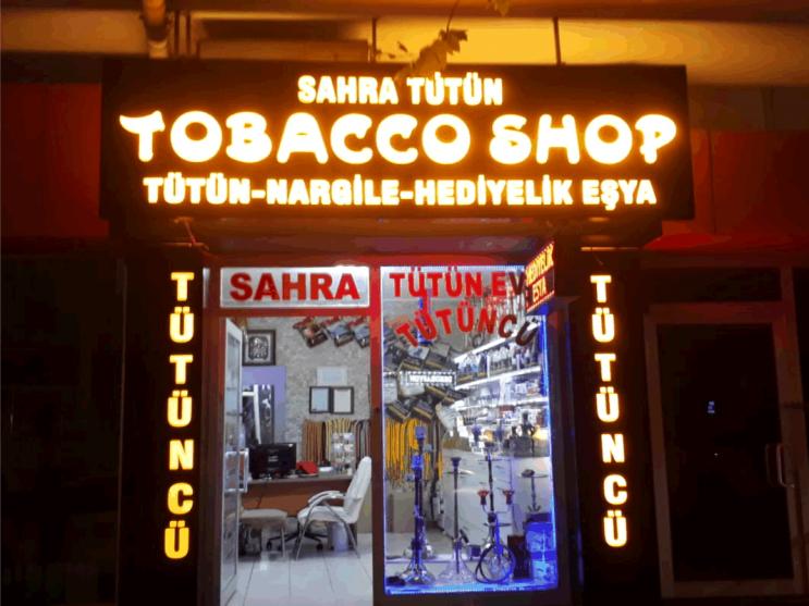 Sahra Tütün Işıklı Kutu Harf ve Dekupe Oyma Tabela